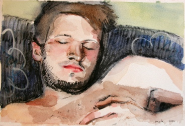 Asleep, 2013, watercolour on paper