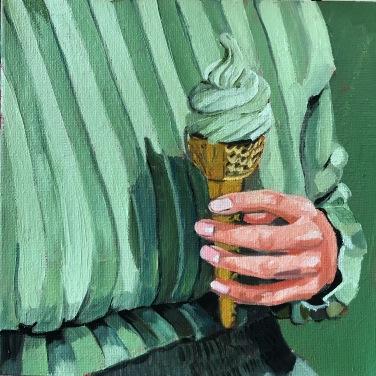 Matcha, oil on canvas, 20 x 20 cm